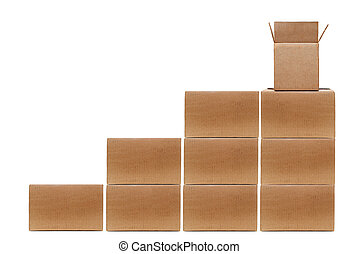 Boxes Stacked - stacked cardboard boxes on white background