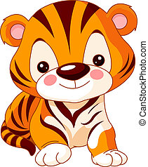 Fun zoo. Tiger - Fun zoo. Illustration of cute Tiger