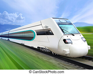 super streamlined train on rail - super streamlined train...