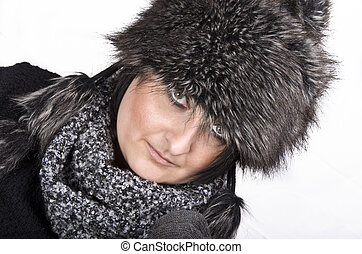 Woman with fur cap
