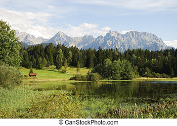 Lake in the alps - Lake in the Karwendel mountains Bavaria,...