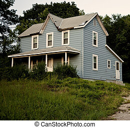 Old Blue Farmhouse - Spooky, old and run down blue farmhouse...