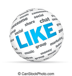 Social Sphere - Sphere with social words on white background...