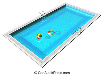 Blue swimming pool with beach ball and lifesaver isolated on...