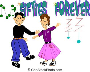 fifties forever - teens dancing with poodle skirt and jeans...