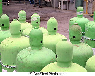 green gas bottles