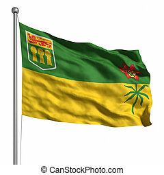 Flag of Saskatchewan Rendered with fabric texture visible at...