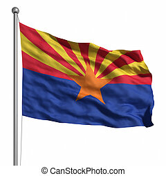 Flag of Arizona. Rendered with fabric texture (visible at...