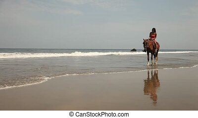 Horse Riding At Beach - Woman Riding Horse At Beach