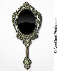 ancient hand mirror on white background
