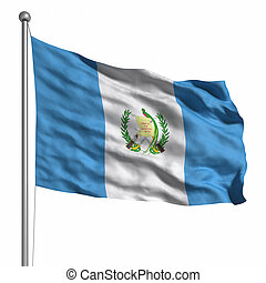 Flag of Guatemala. Rendered with fabric texture (visible at...