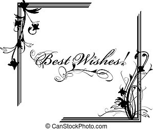 Best Wishes postcard with floral frame in black and white