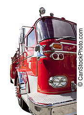 Front side of old fire truck isolated on white
