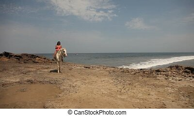 Woman With Horse At Beach - Woman Riding Horse At Beach