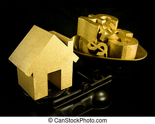 house prices, first time buyer, gold house and money symbols...