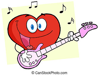 Red Heart Playing A Guitar - Red Valentine Heart Character...