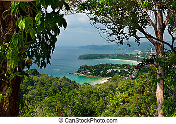 Landscape tropical beaches of Thailand with the height of...