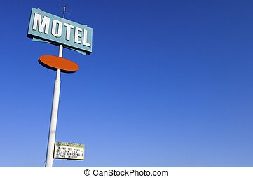 motel - poster green motel with clear and blue sky