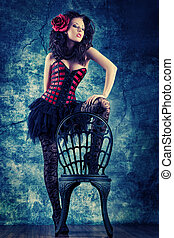 stay corset - Portrait of a sexy beautiful woman posing at...