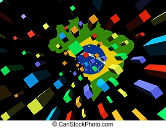 containers and Brazil map flag illustration