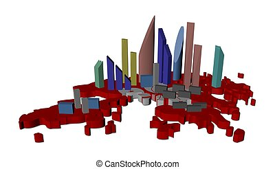 skyscrapers on Hong Kong map flag illustration