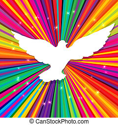 Dove silhouette on psychedelic colored abstract background....