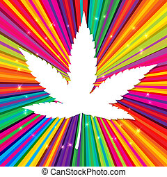 Cannabis leaf on abstract psychedelic background, vector,...