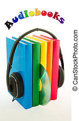 Row of books and headphones - Audiobooks concept - Row of...