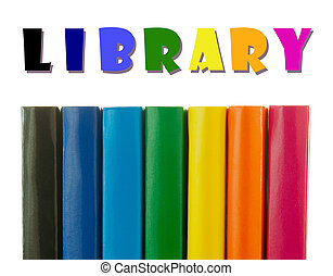 Row of colorful books' spines - Library concept - Row of...