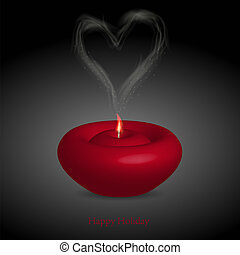 candle with smoke in the form of heart Vector illustration