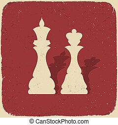 King and queen. Retro chess background, vector illustration,...