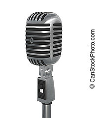 Retro microphone - 3d illustration of retro microphone on...