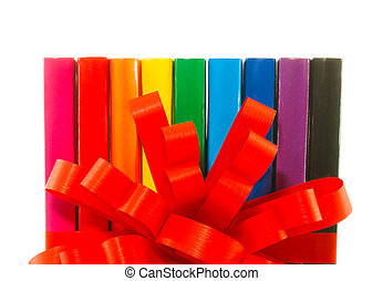 Row of colorful books' spines