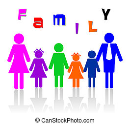 Family of six members illustration