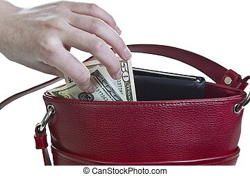 Purse Heist - Money being taken out of red purse on white...