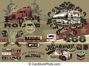 heavy vehicles 3 - illustration for poster and printing