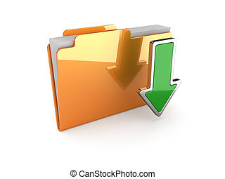 Download folder - 3d illustration of download folder on...