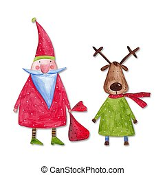 Santa Claus and reindeer - Artwork. Watercolours on paper