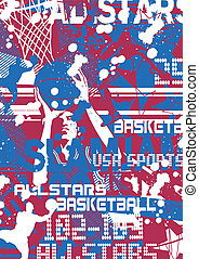 slamjam basketball - illustration for poster and printing