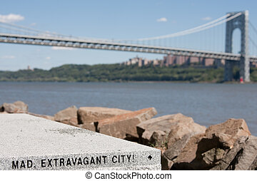 Mad, Extravagant City! - A bench with a quote from Walt...