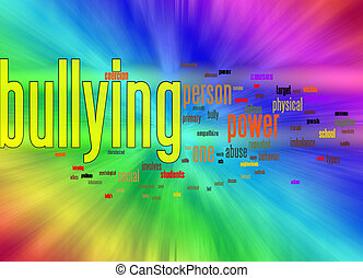 bullying word cloud against background