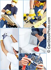 Plumber contractor with tools and details Worker people