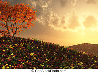 A beautiful hillside view - render of a gorgeous flower...