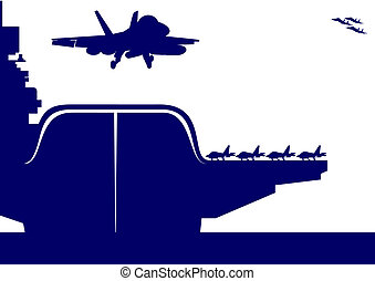 Aircraft and an aircraft carrier - The plane takes off from...