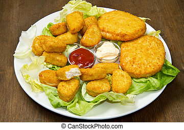 nuggets with ketchup and mayonnaise