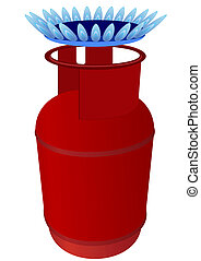 Gas cylinder and burner - Household gas cylinder and the...