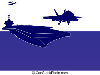 Take-off from an aircraft carrier - The plane takes off from...