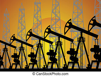 The oil industry - Mining and quarrying. Oil drilling rigs.