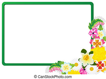Wildflowers on the background of the frame. The illustration...