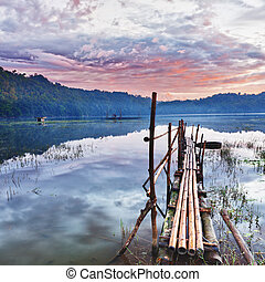 Tamblingan lake at sunrise time